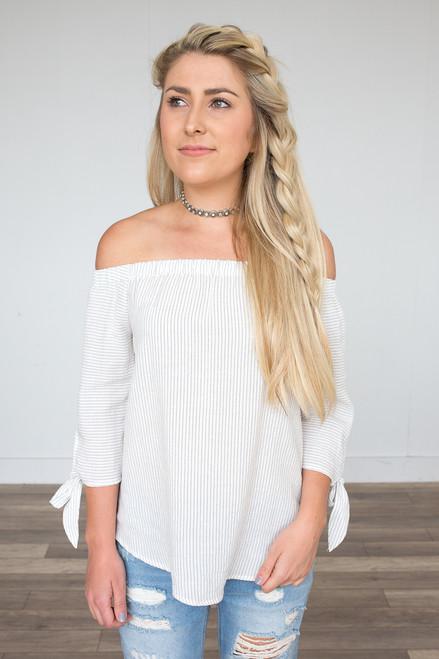 Off the Shoulder Stripe Top - White/Black - FINAL SALE
