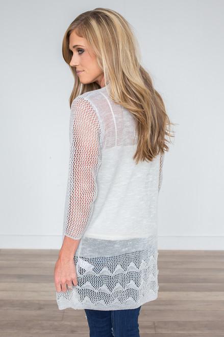 Open Knit Textured Hem Cardigan - Light Grey - FINAL SALE