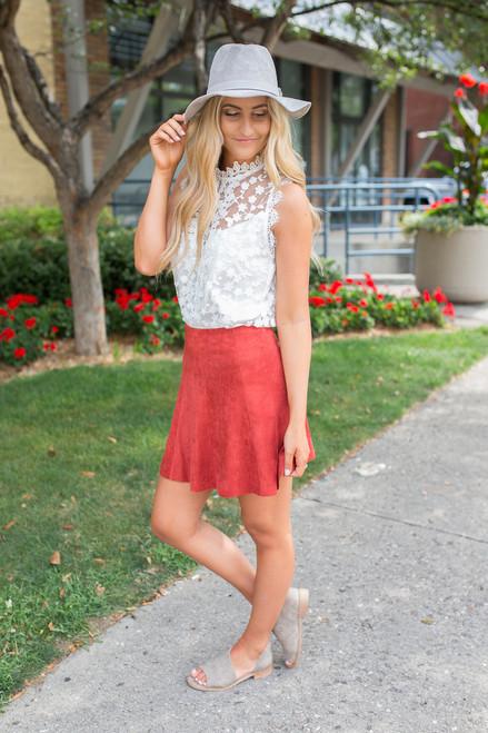BB Dakota Aileen Suede Skirt - Tuscan Red - FINAL SALE