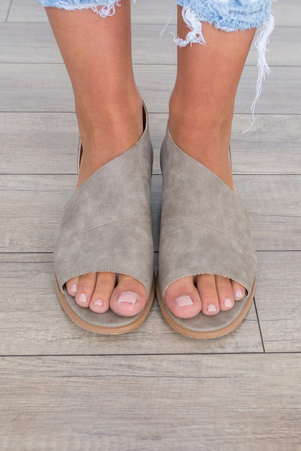 Harley Open Toe Distressed Flat - Taupe - FINAL SALE