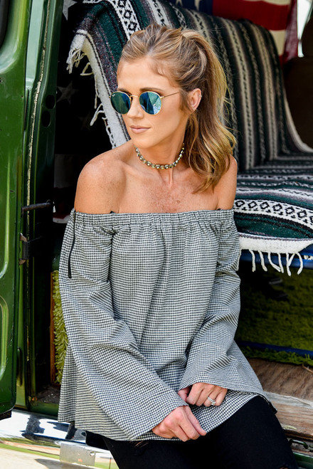 Off the Shoulder Gingham Top - Grey/Black  - FINAL SALE