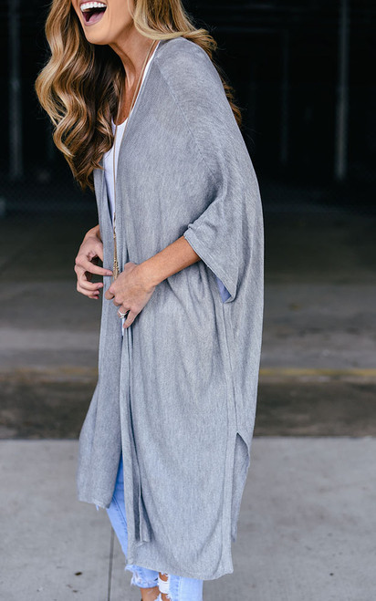 Cage Back Solid Cardigan - Heather Grey - FINAL SALE