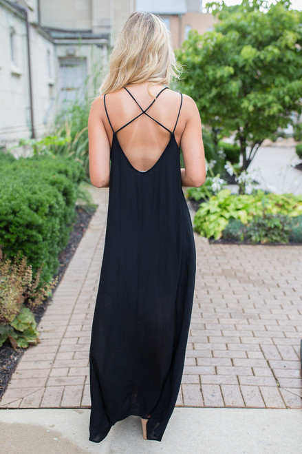 Strap Detail Floral Embroidered Maxi - Black - FINAL SALE