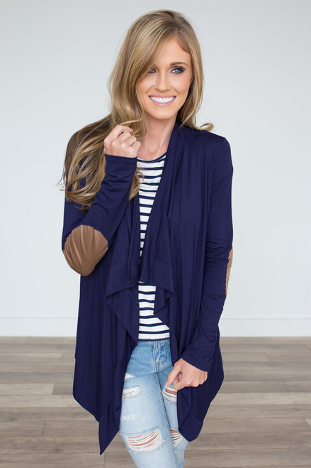 Open Front Elbow Patch Cardigan - Navy - FINAL SALE
