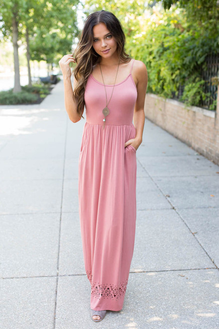 Spaghetti Strap Cutout Maxi Dress - Rose - FINAL SALE