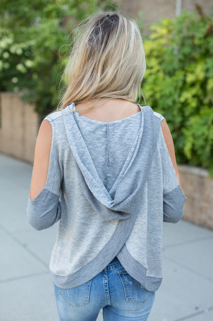 Hooded Cold Shoulder Sweater - Heather Grey - FINAL SALE