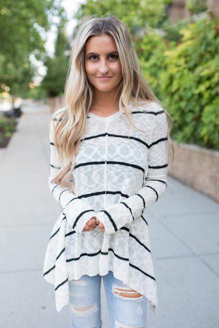 Striped Asymmetrical Sweater - Cream/Black - FINAL SALE