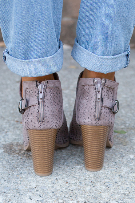 Perforated Peep Toe Bootie - Taupe