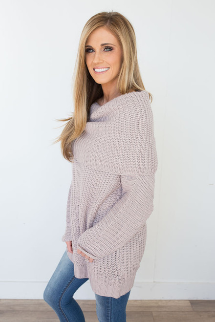Off the Shoulder Sweater - Pale Mauve - FINAL SALE