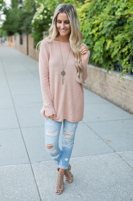 Home Sweet Home Sweater - Dusty Peach