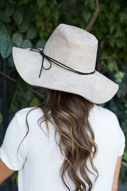 Suede Floppy Hat - Greige - FINAL SALE