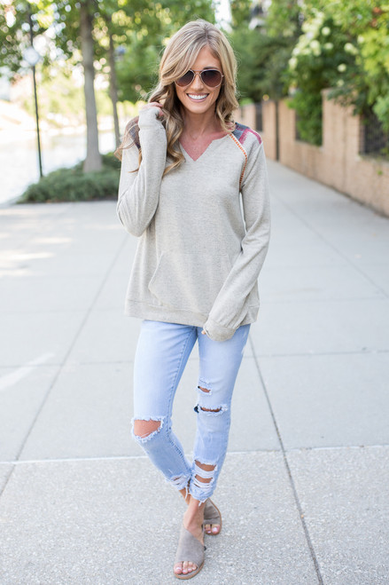 Pullover Pocket Sweater - Taupe Multi - FINAL SALE