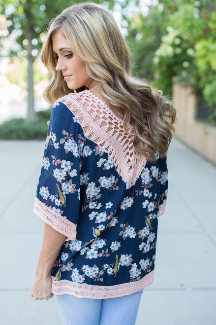 Floral Print Crochet Detail Top - Navy/Peach - FINAL SALE