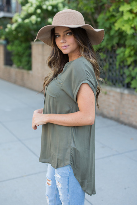 High Low Button Down Blouse - Olive - FINAL SALE