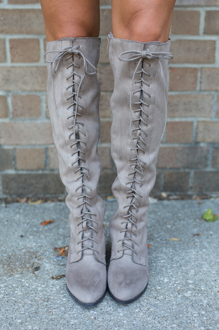 Lace Up Knee High Boots - Taupe - FINAL SALE