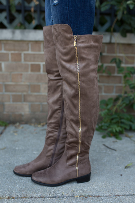 Thigh High Suede Boots - Taupe - FINAL SALE