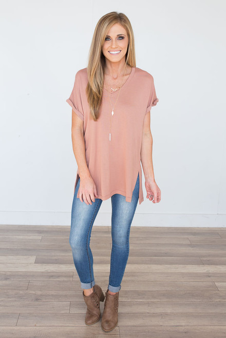 V-Neck Rolled Cuff Tee - Dusty Rose