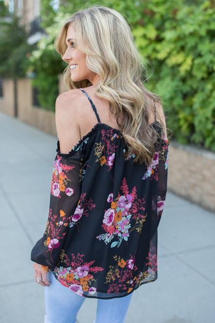 Cold Shoulder Floral Blouse - Black Multi
