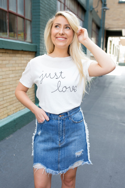 Just Love Embroidered Tee - Ivory - FINAL SALE