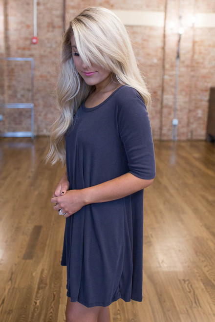 With Love Ribbed Dress - Faded Black - FINAL SALE