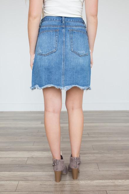 Distressed Denim Skirt - Medium Wash - FINAL SALE