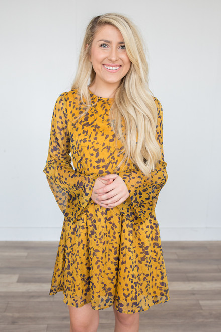 Branching Out Bell Sleeve Dress - Mustard