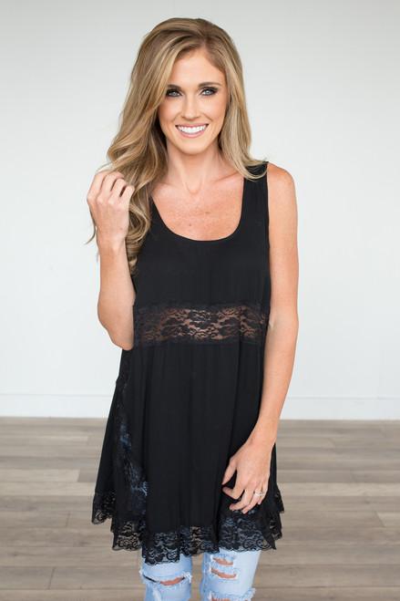 Sleeveless Lace Detail Tunic - Black - FINAL SALE