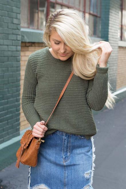 BB Dakota: Briegh Sweater - Olive - FINAL SALE