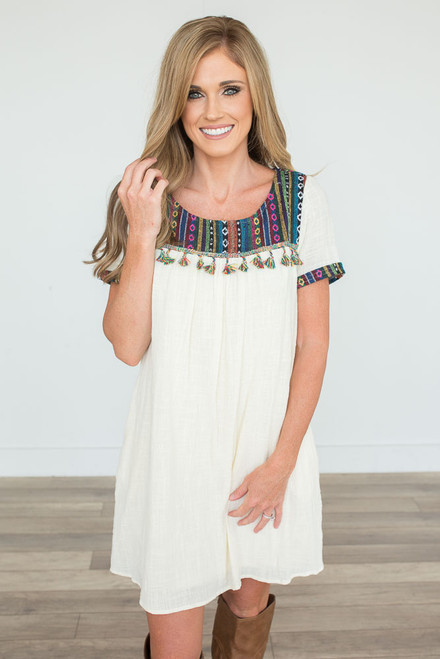 Baja Tassel Contrast Dress - Cream Multi - FINAL SALE