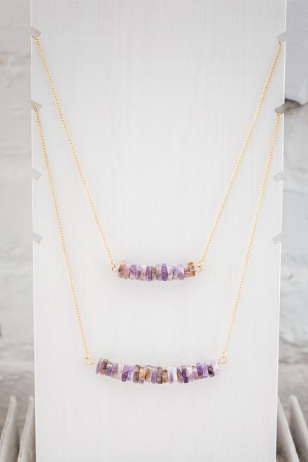 Layered Stone Necklace - Purple Multi - FINAL SALE