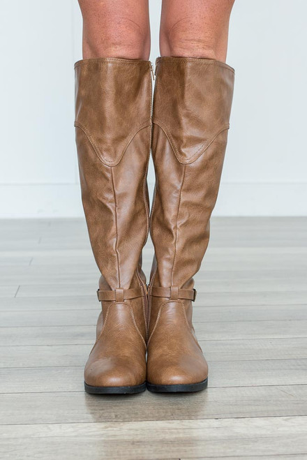 Distressed Buckle Riding Boots - Brown