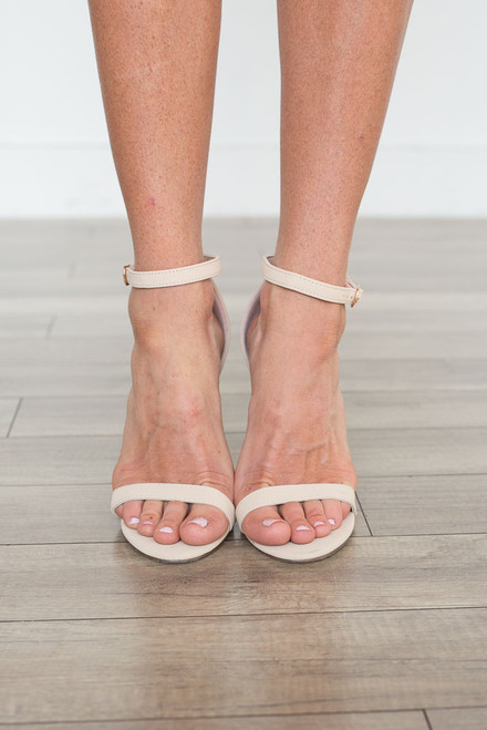 Suede Ankle Strap Heels - Beige - FINAL SALE