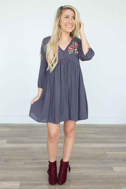 Embroidered Button Detail Dress - Charcoal - FINAL SALE