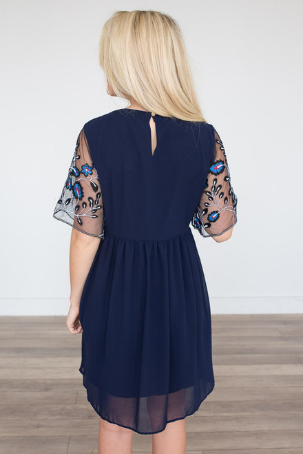 Whimsical Floral Embroidered Dress - Navy  - FINAL SALE