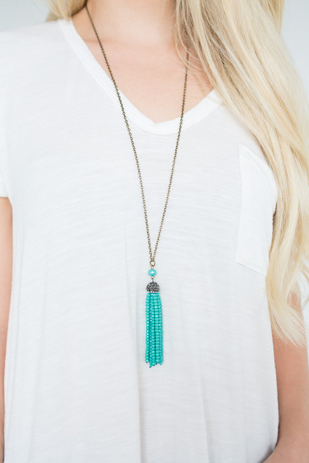 All That Glitters Tassel Necklace - Teal/Gold - FINAL SALE