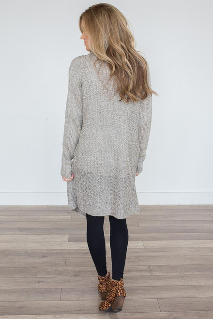 Open Knit Long Cardigan - Taupe Multi - FINAL SALE