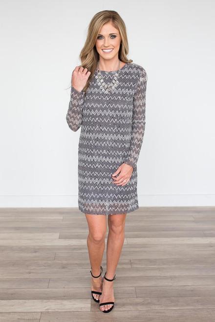 Long Sleeve Chevron Dress - Grey Multi - FINAL SALE
