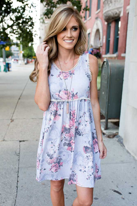 Rustic Rose Dress - Grey Multi - FINAL SALE