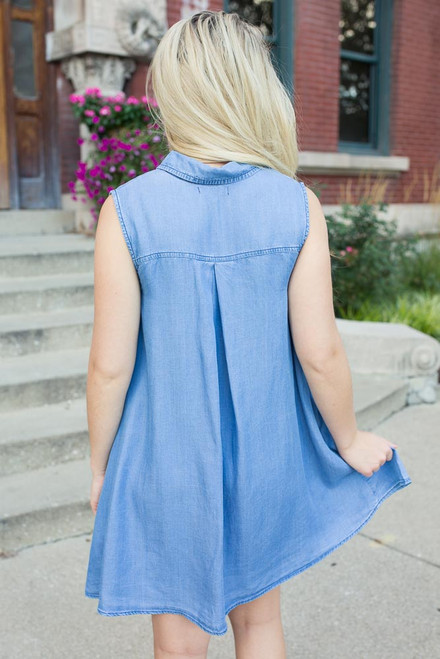Denim Darling Pocket Dress - Light Wash - FINAL SALE