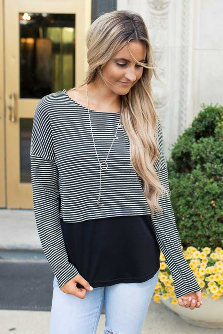 Striped Contrast Hem Top - Black/White - FINAL SALE