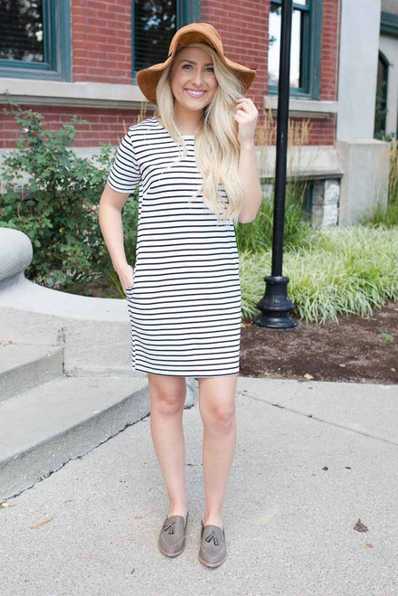 Nantucket Striped Dress - White/Black - FINAL SALE