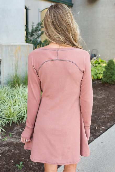 Contrast Stitch Dress - Dusty Peach - FINAL SALE