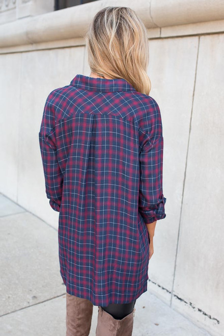 Stars Hallow Plaid Top - Red/Navy - FINAL SALE