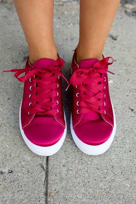 Rockette Satin Sneakers - Ruby Red - FINAL SALE