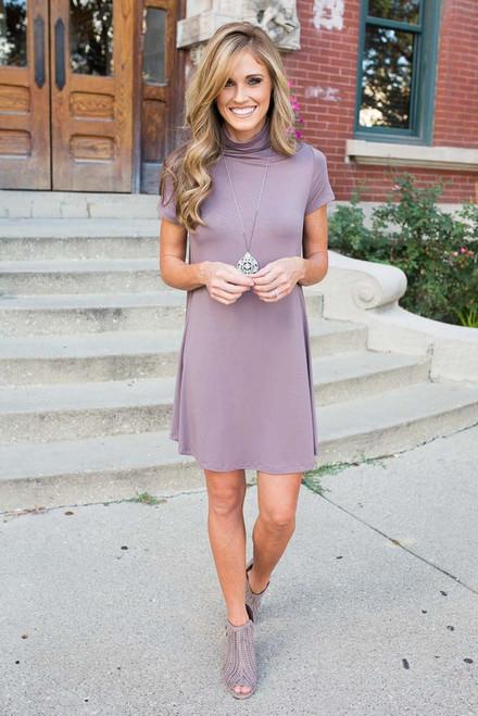 Mock Neck Swing Dress - Dusty Purple - FINAL SALE