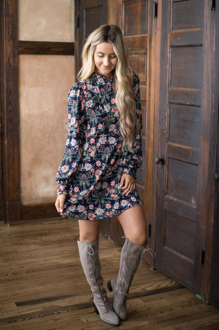 Mock Neck Floral Print Dress - Navy Multi - FINAL SALE