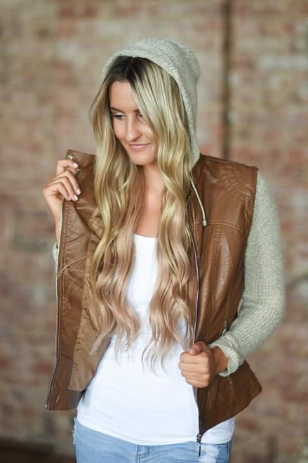Faux Leather Sweater Detail Jacket - Camel - FINAL SALE