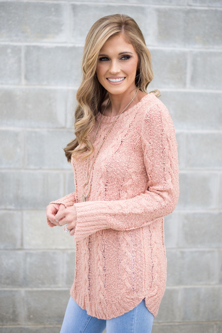 Adeline Cable Knit Sweater - Peach - FINAL SALE