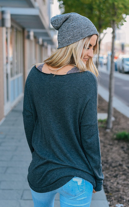 Raw Edge Pocket Top - Charcoal - FINAL SALE