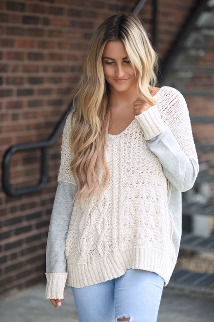 Cable Knit Sweatshirt Detail Sweater - Ivory